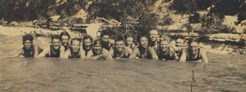 Boys at the swimming hole in 1922