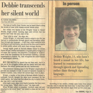 Article: Debbie transcends her silent world