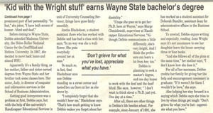 Article: Kid with the Wright stuff earns Wayne State bachelor's degree