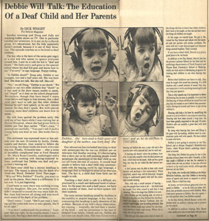 Article: Debbie Will Talk: The Education of a Deaf child and her parents