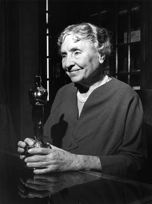 Helen Keller with her Academy Award