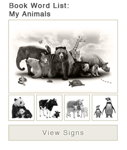 View word list of ASL signs for the book My Animals
