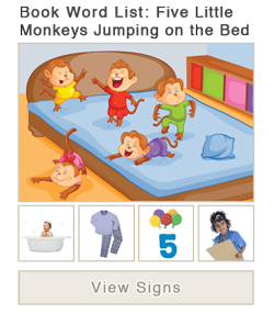 View word list of ASL signs for the book Five Little Monkeys Jumping on the Bed