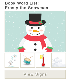 View word list of ASL signs for the book Frosty the Snowman