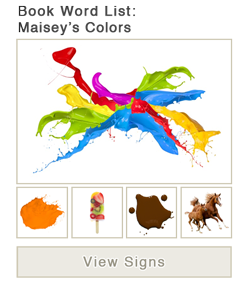 View word list of ASL signs for the book Maisy's Colors
