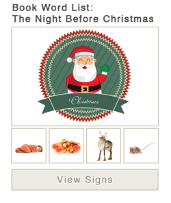 View word list of ASL signs for the book The Night Before Christmas