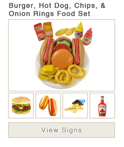 View word list of ASL signs for fast burger, hot dog, chips, and onion rings food