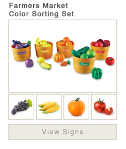 View word list of ASL signs for farmers market color sorting set