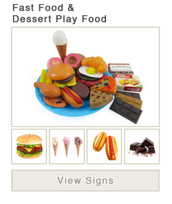 View word list of ASL signs for fast food and dessert play food