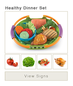 View word list of ASL signs for healthy dinner set