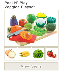 View word list of ASL signs for Play Veggies Playset
