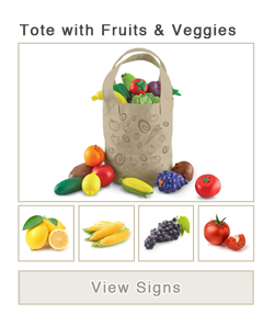 View word list of ASL signs for tote with fruit and vegetables