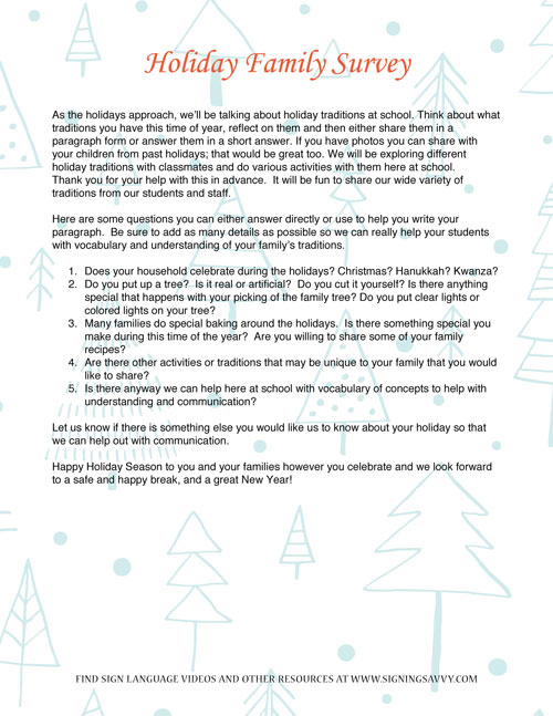 Editable Microsoft Word Template - Holiday Letter - Option 3 Tree