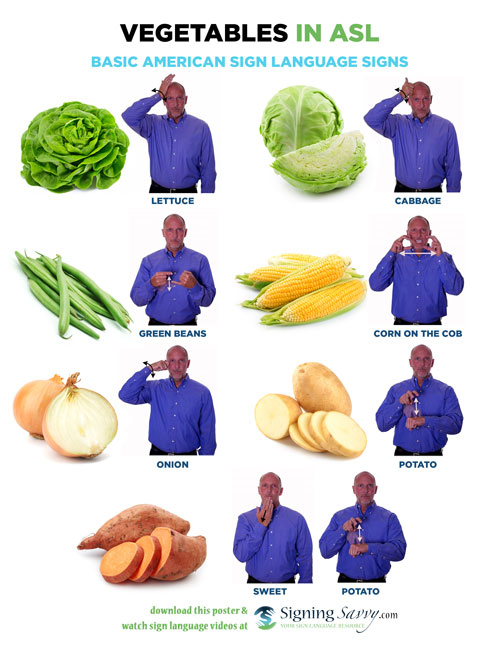Vegetables in American Sign Language (ASL)