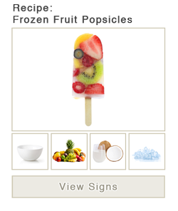 View word list of ASL signs for Frozen Fruit Popsicles