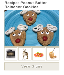 View word list of ASL signs for Peanut Butter Reindeer Cookies